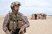 image of marines  - US marines in the desert near the blockpost - JPG