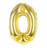 Gold balloon font part of full set of numbers, number zero, 0