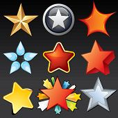 Star Shaped Icons, Buttons, Logos, Design Elements