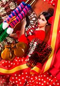 image of castanets  - Flamenco woman with bullfighter and typical Spain Espana elements like castanets fan and comb - JPG