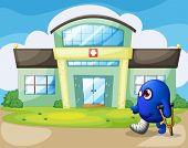 Illustration of a disabled monster outside the hospital