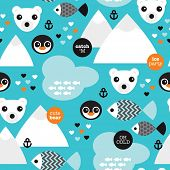 Seamless winter wonderland penguin fish and polar bear illustration background pattern in vector