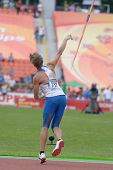 DONETSK, UKRAINE - JULY 11: Andrey Fomichev of Russia in the semi-final of javelin throw competition in Octathlon during 8th IAAF World Youth Championships in Donetsk, Ukraine on July 11, 2013