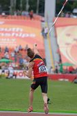 DONETSK, UKRAINE - JULY 11: Tobias Capiau of Belgium in the semi-final of javelin throw competition in Octathlon during 8th IAAF World Youth Championships in Donetsk, Ukraine on July 11, 2013