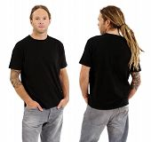 stock photo of dreadlock  - Photo of a male in his early thirties with long dreadlocks and posing with a blank black shirt - JPG