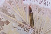 picture of uzi  - Single rifle bullet closeup with a pile of euro banknotes in the background - JPG
