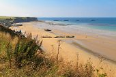 image of ww2  - Normandy Landings remains of artificial port at Arromanches - JPG