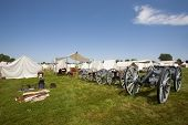 Revolutionary War Or War Of 1812 Tents, Canons