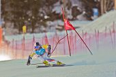 PATSCHERKOFEL, AUSTRIA - JANUARY 15 Artem Pak (Russia)  places 30th in the Super-G of the Men's Supe