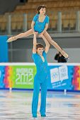 INNSBRUCK, AUSTRIA - JANUARY 16 Ieliyaveta Usmantseva and Vladislav Lysoy (Ukraine) place 5th in the