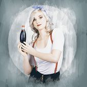 Young Beautiful Retro Lady Holding Soda Drink