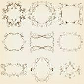 Calligraphic And Floral Frames Set. Vector Illustration