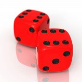 Red Dices On White