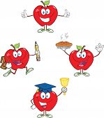 Red Apples Cartoon Mascot Characters 2 Collection