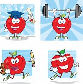 Happy Red Apples Characters