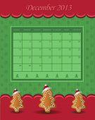 Calendar December Christmas 2013 tree green red vector