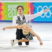INNSBRUCK, AUSTRIA - JANUARY 17 Jana Cejkova and Alexandr Sinicyn (Czech Republic) place 7th in the