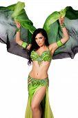Bellydancer Dancing With A Green Silk Veil