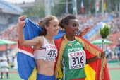 DONETSK, UKRAINE - JULY 14: A. Hinriksdottir, Iceland (left) and D. Edao, Ethiopia win medals in the