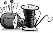 Illustration of Spools of Thread and Pin Cushion in Black and White