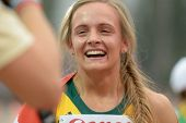 DONETSK, UKRAINE - JULY 13: Helene Swanepoel of South Africa after she finished the first in the fin