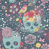 Mexican concept background with flowers, skulls and birds. Concept tattoo theme wallpaper. Seamless pattern can be used for wallpaper, pattern fills, web page background, surface textures.