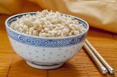 Brown Rice In Blue And White Rice Pattern Bowl