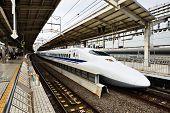 KYOTO - NOVEMBER 28: A Shinkansen Bullet Train November 28, 2012 in Kyoto, JP.  The Tokkaido Shinkan