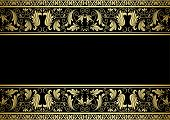 stock photo of adornment  - Gilded frame with decorative elements in retro style for design - JPG