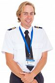 cheerful pilot wearing uniform with epaulettes isolated on white