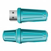Set Of Opened And Closed Blue Usb Memory Sticks