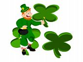 leprechaun coin three clover background