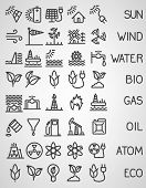 Energy and resource icon set