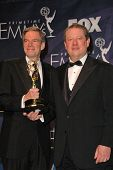 Joel Hyatt and Al Gore in the press room at the 59th Annual Primetime Emmy Awards. The Shrine Audito