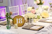 Elegant Table Set In White For Wedding Or Event Party.