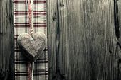Big heart wood - on plaid fabric