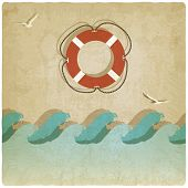 Vintage marine background with lifebuoy