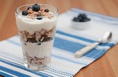 Blueberry Yoghurt Parfait with granola