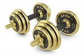 Golden Dumbells Isolated On White Background
