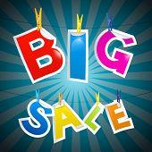 Retro Big Sale Paper Title On Blue Background