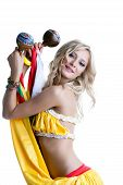 Beautiful smiling blonde dancing with maracas
