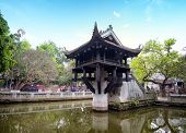 Hanoi, Vietnam - One Pillar Pagoda. Famous Buddhist temple and popular tourist attraction. Asian lan