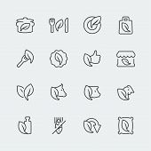 Vector Organic And Vegetarian Food Mini Icons Set