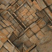3d fragmented tiled mosaic labyrinth interior in rusty orange
