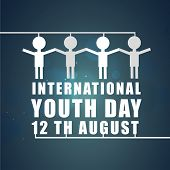 White symbol of peoples with joining hands on international youth day 12th august on shiny blue back