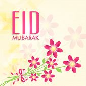 Beautiful flowers bunch on yellow background for Muslim community festival Eid Mubarak celebrations.