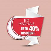 Stylish 40% discount banner with crescent moon for Muslim community festival Eid Mubarak
