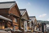 ISE, JAPAN - APRIL 25, 2014: Facades on the historic shopping street of Oharai-machi. The reconstruc