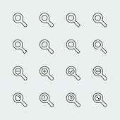 Large Vector Magnifying Glass Mini Icons Set