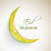 Glossy yellow moon on grey background for muslim community festival Eid Mubarak celebrations.